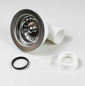 """Korbventil 3 1/2"""" mit seitlichem Abgang Ablauf Ventil 3,5 Zoll sieb Kunststoff"""