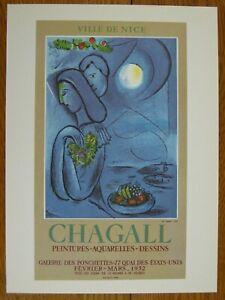 Marc Chagall Ville de Nice Exhibition Poster Offset Lithograph Mourlot 1966 Blue