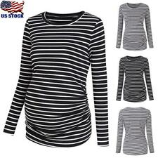 Women Pregnant Maternity Clothes Long Sleeve Striped Casual Tops T-Shirt Jumper
