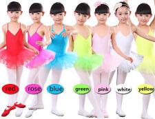 Red White Yellow Pink Green Blue Girls Tutu Leotards Ballet Dance Shows Age 3-8