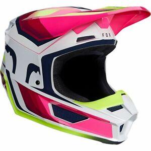 New Fox Racing V1 TRO Motocross Racing Helmet in Flo Yellow & Pink All Sizes