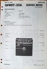 Roland Spirit-25A Guitar Amp Original Service Notes Manual Schematics, 1983