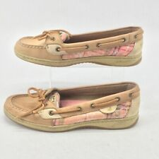 Sperry Top-Sider Womens Angelfish Boat Shoes Pink Tan Bow Slip Ons 8.5 M