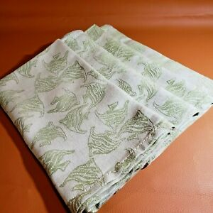 FOUR EMBROIDERED DINNER NAPKINS - COTTON BLEND - IVORY & GREEN - NAUTICAL - FISH