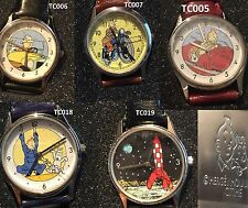 5 X Tintin Globe Trotter - Herge / Moulinsart Citime Watch - 1994 - RARE