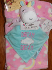 BABY STARTER LOT 2 BLANKET & SECURITY UNICORN DREAM PINK CLOUDS RAINBOW HEARTS