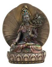 "NEW 6.5"" White Tara Seated On Lotus Throne Statue Figure Tibetan Buddha 6357"