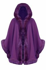 New Women Celebrity Faux Fur Hooded Wrap Puncho Cape Ladies Mantle Coat 8 - 18