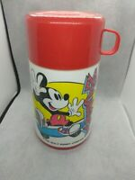 Vintage Mickey Mouse Aladdin Thermos Red Skateboard Walt Disney