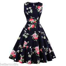 Zaful Plus Size S-4XL Womens Vintage Dress Floral Sleeveless Ethnic Retro Dress