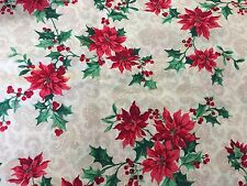 Christmas Cranston Fabric Holly Poinsettias Poinsettia on Tan Brown Paisley BTHY