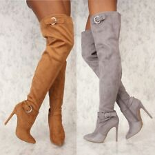 Sexy Buckle Slouch Pointy Toe Over the Knee Thigh High Winter Fashion Boots B11