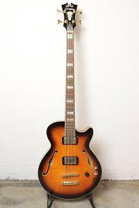 D'Angelico Excel Bass Semi-Hollow Bass Guitar - Vintage Sunburst