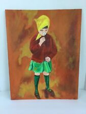 Vintage Original Acrylic Painting Girl In Bonnet with Flower Blanche Landow 1983