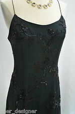 Jovani black silk prom formal cocktail sexy evening wedding dress beaded size 8