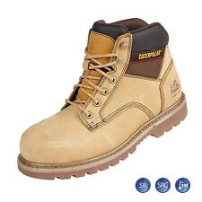 Mens Caterpillar Tracker Honey Safety Steel Toe Cap Leather Work Boots Shoes  Sz