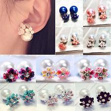 Be Lovely Women Girls Double Sides Beads Pearl Flower Crystal Ear Stud Earrings