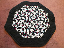 Beautiful Collectible Handmade Quilted Table Linen 15 Inch Ghosts Black White