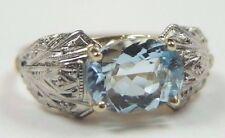Antique Vintage Aquamarine Engagement Ring 18K Two Tone Ring Size 5.5 UK-K1/2