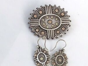 Late Victorian Solid Silver Brooch with matching Earrings