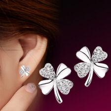 Silver Ear Stud Fashion Je Lad Women's Cute Lucky Clover Shape Earrings 925