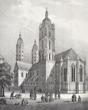 Dom zu Naumburg Original Lithografie Saxonia 1837 Cathedral Church Chapel