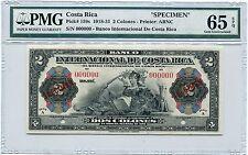 Costa Rica Specimen 2 Colones 1918-31, Pick 159, PMG Gem Uncirculated 65 EPQ