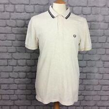 FRED PERRY MENS UK M CREAM MARL SHORT SLEEVE POLO SHIRT DESIGNER CASUAL SMART