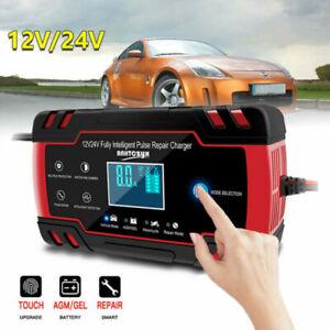 Chargeur de Batterie Réparation Auto Moto Voiture 8A 12/24V Portable Ecran LCD