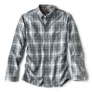 ORVIS Tech Chambray Men's Long Sleeved Work Shirt NAVY PLAID   LARGE   $89 MSRP