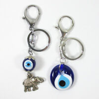 2Pc Keychains Lucky Evil Eye Elephant Key Ring Classic Charm Amulet Purse Gift !