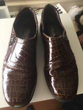helle comfort shoes 39 8.5 Brown Gold Brick Pattern Side Zip Flats