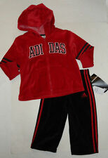 NEW ADIDAS 2PC 18 MONTHS SET TRACKSUIT RED BLACK VELOUR BOYS GIRLS WINTER AUTH