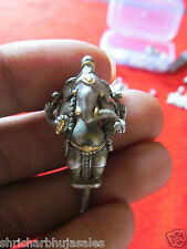 World Most Rare Pure Silver With Gold Work Standing Ganesh Tribal God Ganesha