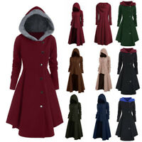 Womens L-4XL Hooded Coat Plus Size Vintage Cloak High Low Sweater Blouse Tops