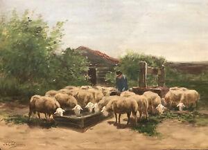 Antique H. BROGMAN 1890-1975 Dutch Sheep Drinking Pastoral Watercolor Landscape