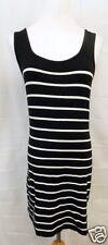 Forever 21 Dress Sleeveless Tank Black White Stretch Nautical Striped sz Medium