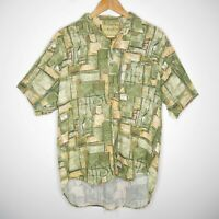 Vintage Radius Sportswear Mens Button Up Shirt Size Medium Green
