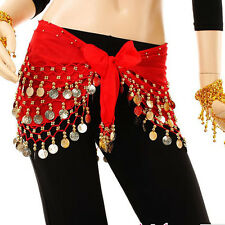 3 Rows Gold Coin Women Belly Dance Costume Hip Scarf Skirt Belt Dancing Wrap New