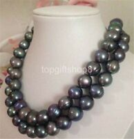 double strands 12-13mm tahitian baroque black green pearl necklace 18""