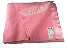 John Atkinson Grafton Vintage Blanket Pink Merino Wool Mothproof Made in England