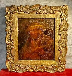 Antique Oil Painting on Tin Sheet portrai of Gamekeeper  Farm Worker 4 X 5 Inch
