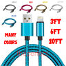 USB Braided Cord For iPhone 6S 7 8 Plus X Xs 11 Pro Charger Cable 3FT 6FT 10FT