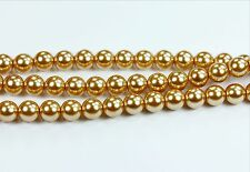 50 Gold Czech Glass Pearl Coated Round Beads 8mm