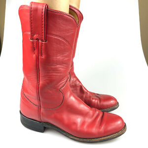 Justin Womens Red Roper Leather Western L3055 Cowboy Mid-Calf Boots Size 5.5 B