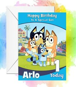 Personalised Birthday Card Bluey son daughter any name/relation/age