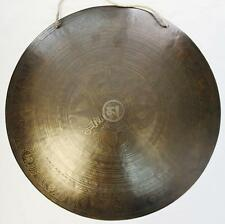 F614  Very Artistic Large Tibetan-Nepalese Hand Etched Temple Gong Disc 19""