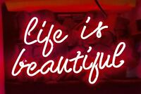 "14""x9""Life Is Beautiful Neon Sign Light Party Studio Wall Hanging Decor Artwork"