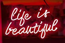 """Life Is Beautiful Neon Sign Light Beer Bar Pub Party Visual Artwork Decor12""""x8"""""""