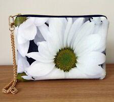 Clutch Bag Wrist Strap Faux Leather White Daisy Flower Detachable Zip Handmade